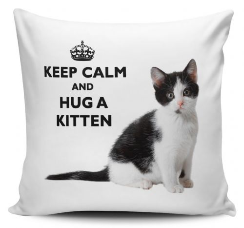 Keep Calm And Hug A Kitten Black & White Cushion Cover